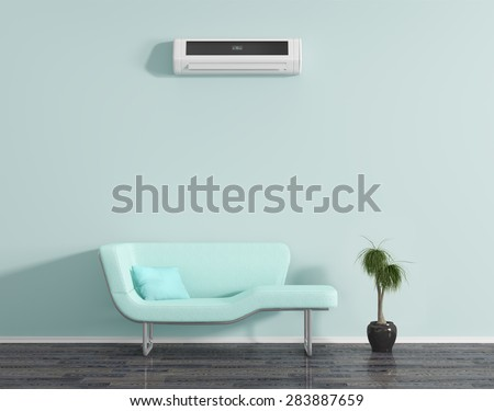 Blue room air conditioning, and sofa. - stock photo