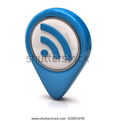 Blue rss icon - stock photo