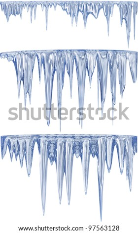 3 blue shade thawing icicles on cold winter - stock photo