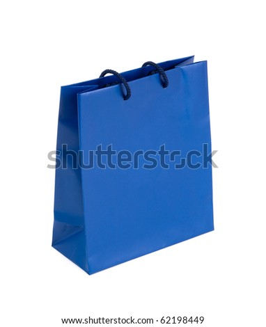 Blue shopping bag - stock photo