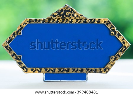 Blue sign thai style with nature background. - stock photo