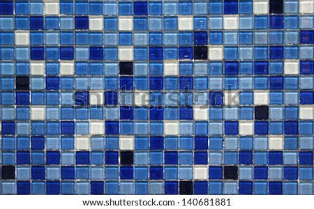 blue small colorful tile texture background ,Close up of colorful mosaic tiles for wall background