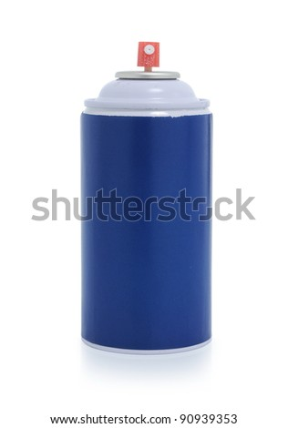 blue spray paint isolated on white background - stock photo