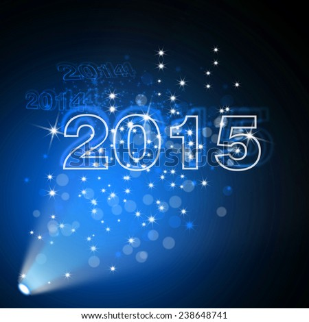 Blue stage light with new year background