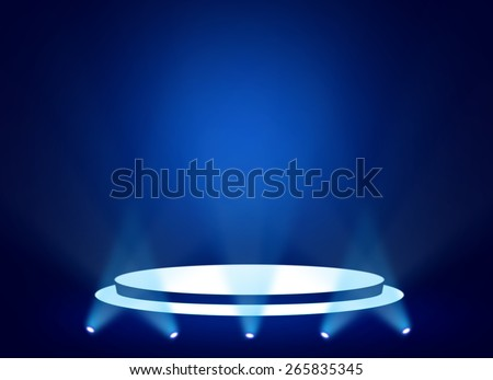 Blue stage theater background  - stock photo