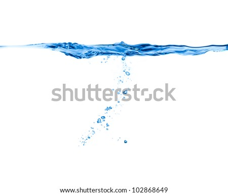 """blue water splash isolated on white background"" - stock photo"