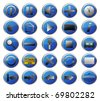 25 blue web icons set - stock vector