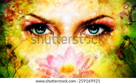 blue women eyes beaming up enchanting from behind a blooming rose lotus flower, with bird on yellow and green abstract background. with spots effect - stock photo
