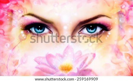 blue women eyes beaming up enchanting from behind a blooming rose lotus flower, with bird on pink abstract background. - stock photo