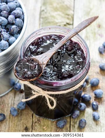 Blueberry jam - stock photo