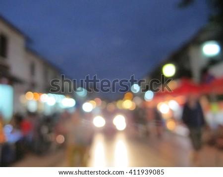Blur night market in Luang Prabang - stock photo