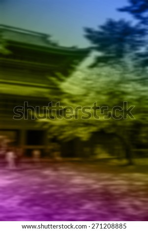 (BLUR style Abstract background) Cherry Blossoms at a Shrine in Tokyo. - stock photo