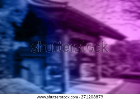 (BLUR style Abstract background). Traditional style Japanese gate architecture made from wood. - stock photo