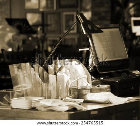blurred cashier   - stock photo