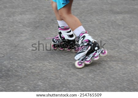 blurred of roller skate player - stock photo