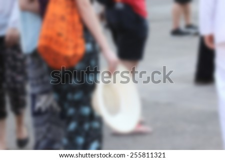 blurred people outdoor - stock photo