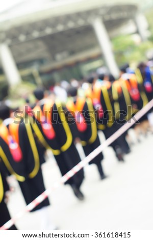 Blurry scene of student in graduation ceremony   - stock photo