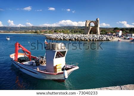 Boat in harbor, Briatico, Calabria, Italy - stock photo