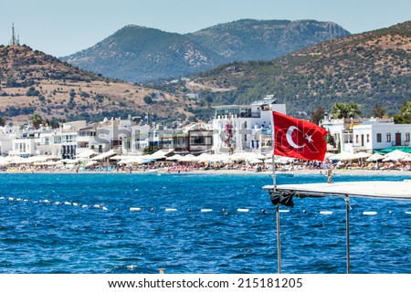 Bodrum is famous for housing the Mausoleum of Halikarnassus, one of the Seven Wonders of the World  - stock photo