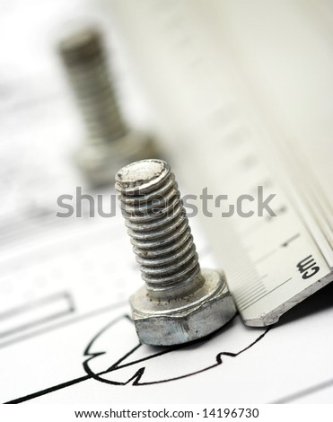 Bolts close up with shallow Dof - stock photo