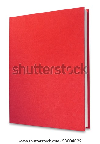 book in upright position with red canvas front, separate shadow and clipping path