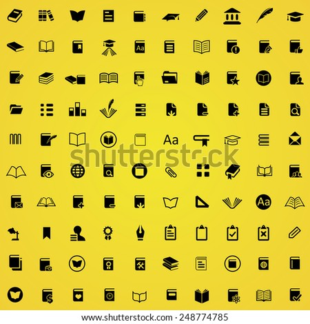 100 books icons, black on yellow background