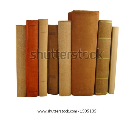 8 books in a row - stock photo