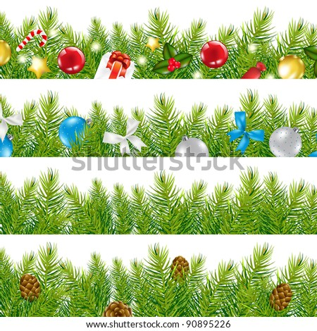 4 Border With Christmas Tree Set, Isolated On White Background - stock photo