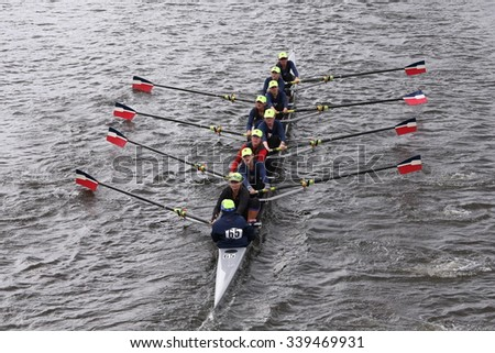 BOSTON - OCTOBER 18, 2015: RA-Rye races in the Head of Charles Regatta Women's Youth Eights [PUBLIC RACE] - stock photo