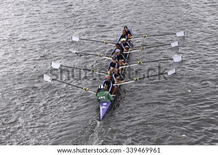 BOSTON - OCTOBER 18, 2015: RNY - Queens races in the Head of Charles Regatta Women's Youth Eights [PUBLIC RACE] - stock photo