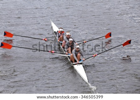 BOSTON - OCTOBER 18, 2015: Syracuse races in the Head of Charles Regatta Men's Master Eights [PUBLIC RACE]