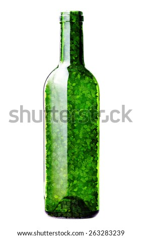 Bottle made from green leaves isolated on white background. 3D render. - stock photo