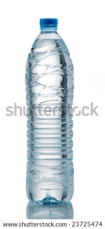 bottle of mineral water with droplets reflecting on white background - stock photo