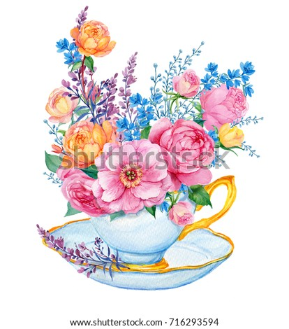 bouquet flowers cup rosepeony wildflowers illustration stock