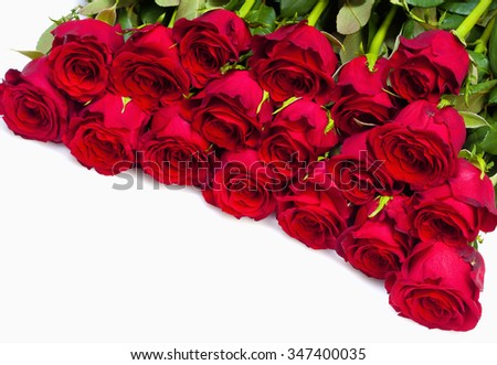 Bouquet of Red Roses - Isolated on White - stock photo