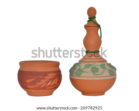 bowl and jar earthenware on white background - stock photo