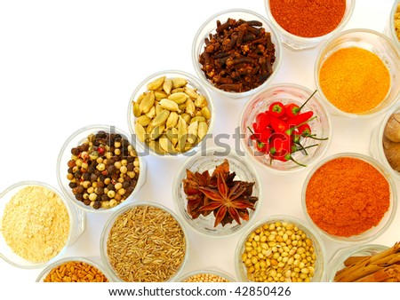 bowls of  spice in rows - stock photo