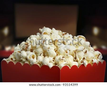 Box of popcorn - stock photo
