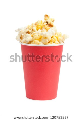 box of popcorn isolated on white - stock photo