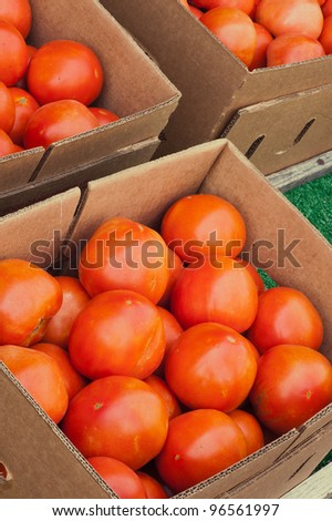 Boxes of tomatoes at a local Farmer's Market ready for purchase