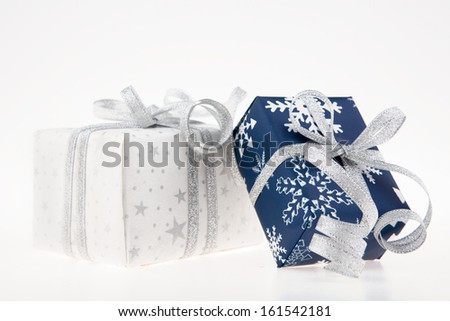 2 boxes to celebration with print blue and white - stock photo