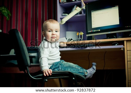 boy and a computer - stock photo