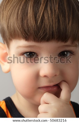 boy seek new tooth in mouth - stock photo