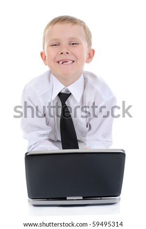 boy with a laptop. Isolated on white background - stock photo
