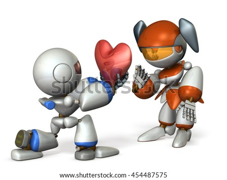 Boys will be suitors. 3D illustration - stock photo