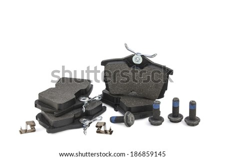 Brake pads for the car on a white background - stock photo