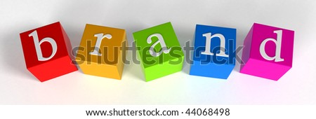"""brand"" phrase compiled with a cubes - 3d rendering"