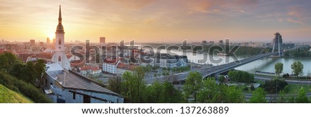 Bratislava panorama at sunrise - stock photo