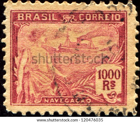 BRAZIL - CIRCA 1920: A stamp printed in Brazil shows woman and ship, circa 1920