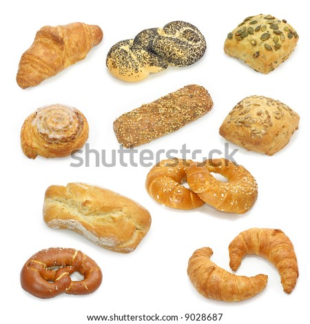 bread collection isolated on a white background - stock photo